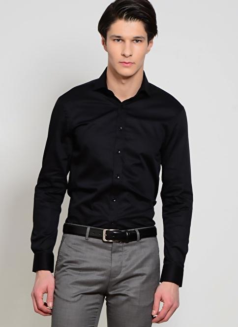 Cotton Bar Slim Fit Uzun Kollu Gömlek Siyah